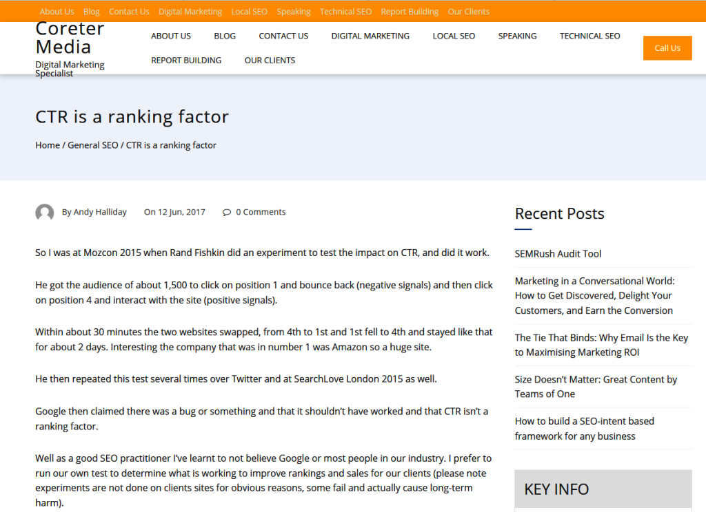 CTR is a ranking factor for SEO - SerpClix case study